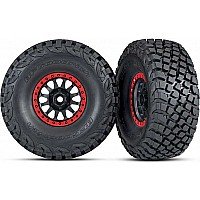Tires and wheels, assembled, glued (Method Race Wheels, black with red beadlock, BFGoodrich Baja KR3 tires) (2)