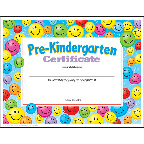 pre kindergarten certificate from trend enterprises another great