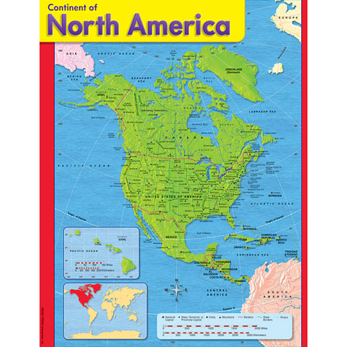 Continent of North America Map Poster - from Trend Enterprises ...