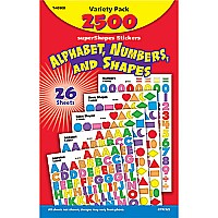 Alphabet, Numbers, Shapes, Variety Pack Stickers