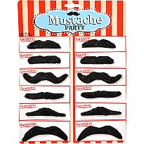 "2.5-3.5"" Black Mustaches 12Pcs/Card"