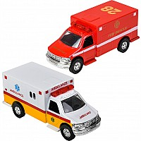 "5"" Die Cast Pull Back Rescue Ambulance"