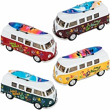 "5"" Diecast Vw Bus With Surfboard"
