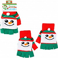 Snowman Kids Fingerless Gloves (12Pcs/Unit)