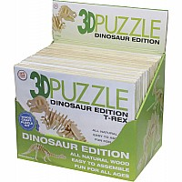 3D Puzzle Dinosaur, wood, assorted