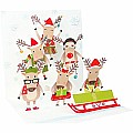 3D Reindeer Tier Pop-Up Treasure Christmas Card