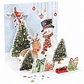 3D Snowman And Deer Pop-Up Treasure Christmas Card