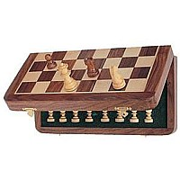 Wood Magnetic Folding Chess Set 7""