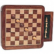 Wood Magnetic Chess Set With Push-out Drawer