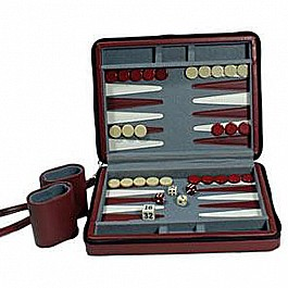Burgundy Travel Magnetic Backgammon