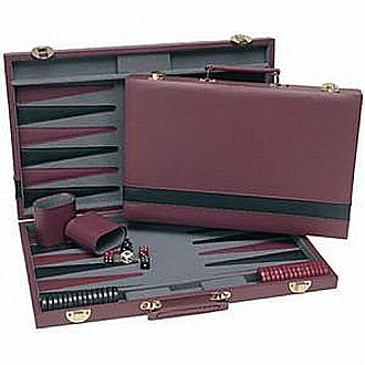 We Games Burgundy/ Black Backgammon 15""