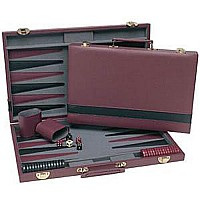 We Games Burgundy and Black Backgammon Set 18""