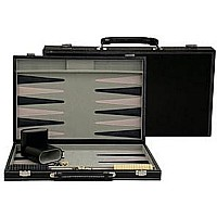 Black Leatherette Backgammon 18""