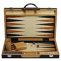 "15"" Black Zebra Wood Backgammon Set"