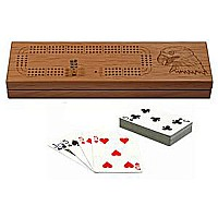 3 Track Solid Wood Cribbage Board With Cards Storage