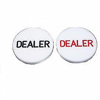 Plastic Dealer Button Black OR Red Font