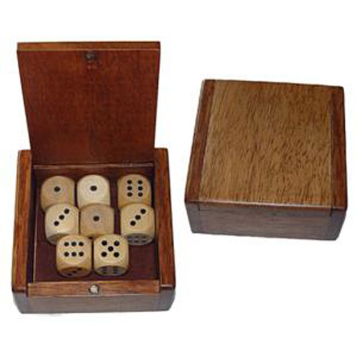 Wooden Dice Box And 8 Wooden Dice Optimus Toys