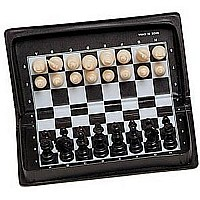 Black and Cream Plastic Magnetic Folding Travel Chess Set