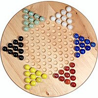 "Chinese Checkers: 11.5"" Wood w/ Marbles"
