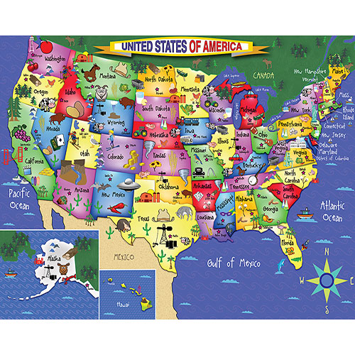 U S Map Floor - 48 piece puzzle - White Mountain Puzzles ...