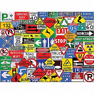 Road Signs-550 Piece Puzzle-White Mountain Puzzles