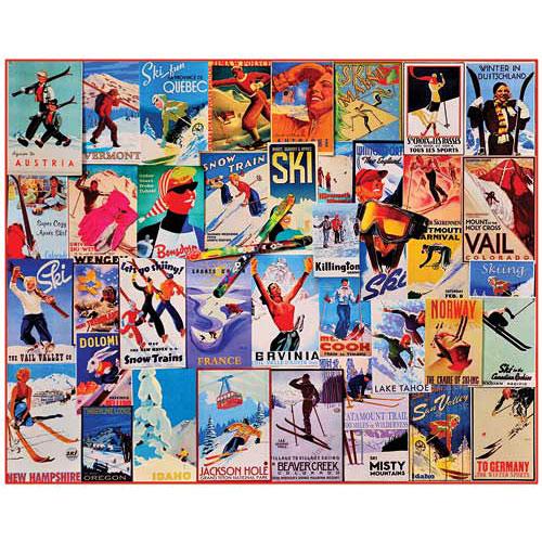 Vintage Ski Posters Puzzle - White Mountain Puzzles - Frames
