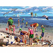Shell Seekers Beach Jigsaw Puzzle-White Mountain Puzzles