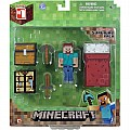 "Minecraft Core Player Survival Pack (3"" Steve With Workbench, Pick Axe, Sword, Bed, and Chest)"