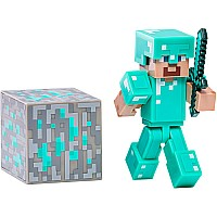 "Minecraft 3"" Steve With Diamond Armor With Accessory"